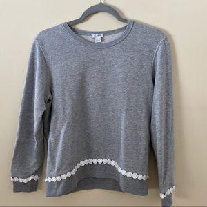 J Crew Factory Gray Sweater w/ White Circle hem